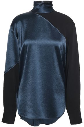 CEDRIC CHARLIER Crepe-satin turtleneck blouse