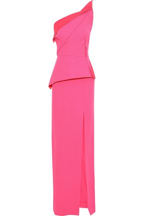 eb073366d5a ROLAND MOURET Acosta one-shoulder pleated wool-crepe gown