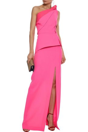 3bf73012e3075 ROLAND MOURET Acosta one-shoulder pleated wool-crepe gown
