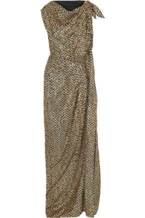 ROLAND MOURET Silvabella draped metallic fil coupé chiffon gown