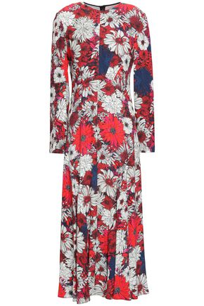 CEDRIC CHARLIER Fluted floral-print crepe de chine midi dress