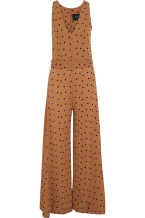 PAPER London Bento belted polka-dot crepe de chine jumpsuit