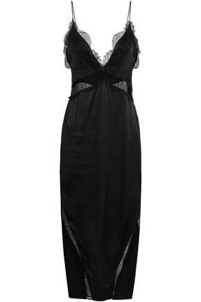 MICHAEL LO SORDO Lace-trimmed silk-satin midi dress