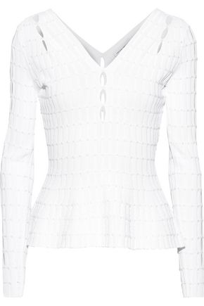 NARCISO RODRIGUEZ Cutout ribbed-knit peplum top