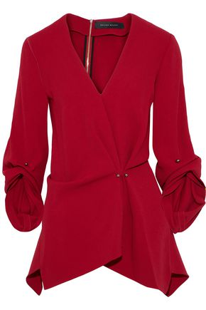ROLAND MOURET Bacall gathered crepe top