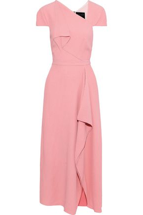 ROLAND MOURET Elliot draped cloqué midi dress