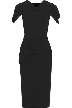 ROLAND MOURET Vernon draped wool-crepe peplum dress