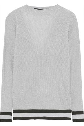 ROLAND MOURET Sandres cutout draped metallic ribbed-knit top