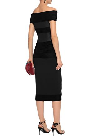 ROLAND MOURET Hanbury off-the-shoulder ribbed terry-paneled knitted midi dress