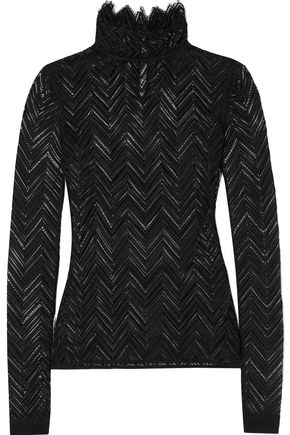 ROLAND MOURET Caron paneled crochet-knit turtleneck top