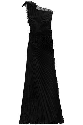 ALBERTA FERRETTI One-shoulder pleated silk-organza gown