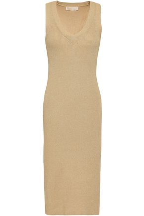 MICHAEL MICHAEL KORS Metallic ribbed-knit dress