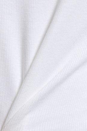 THE RANGE Off-the-shoulder button-embellished ribbed-knit top