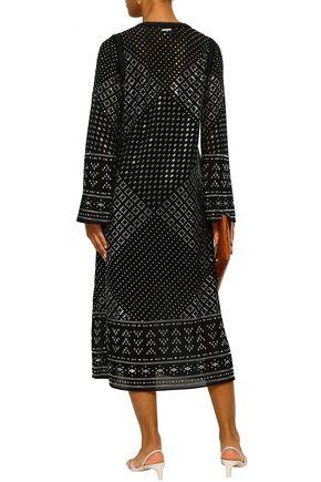 MICHAEL MICHAEL KORS Crochet-trimmed studded georgette midi dress