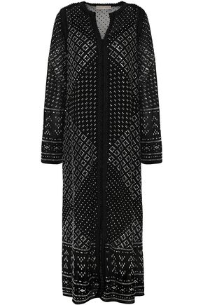 MICHAEL MICHAEL KORS Crochet-trimmed studded georgette midi dress