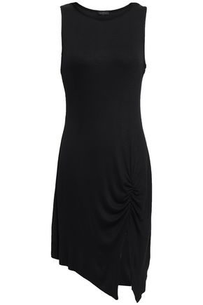 THE RANGE Asymmetric ruched ribbed jersey mini dress