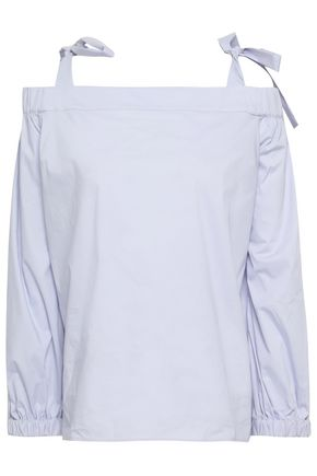MICHAEL MICHAEL KORS Cold-shoulder cotton-blend poplin top
