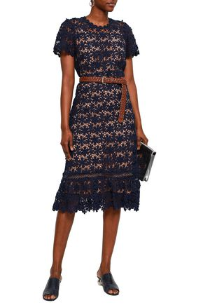 MICHAEL MICHAEL KORS Belted guipure cotton-lace dress