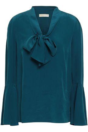 e2fb85a47a10f MICHAEL MICHAEL KORS Draped washed-silk blouse