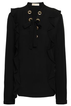 MICHAEL MICHAEL KORS Ruffled embellished silk crepe de chine blouse