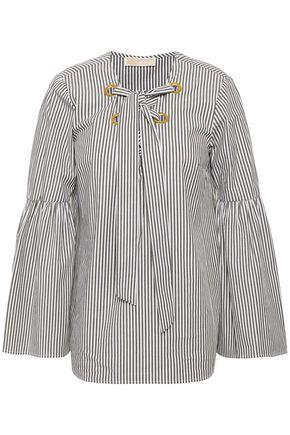 MICHAEL MICHAEL KORS Lace-up striped cotton-blend poplin top