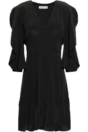 MICHAEL MICHAEL KORS Ruffle-trimmed wash-silk mini dress