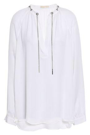 1d3898430da9c8 MICHAEL MICHAEL KORS Chain-embellished silk crepe de chine blouse