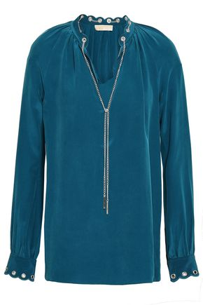 1816dc68e017b3 MICHAEL MICHAEL KORS Chain-embellished washed-silk blouse