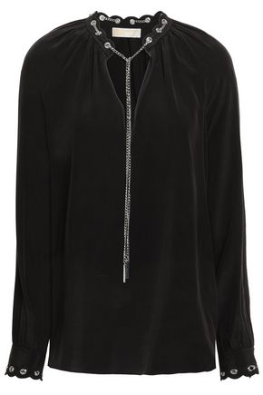 MICHAEL MICHAEL KORS Chain-trimmed scalloped washed-silk blouse