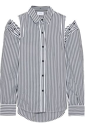 CURRENT/ELLIOTT The Loretta cold-shoulder striped cotton-poplin shirt