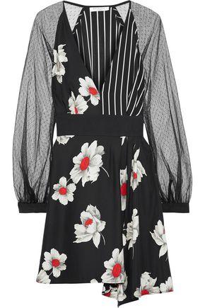 EQUIPMENT Alexandria point d'esprit-paneled printed silk mini dress