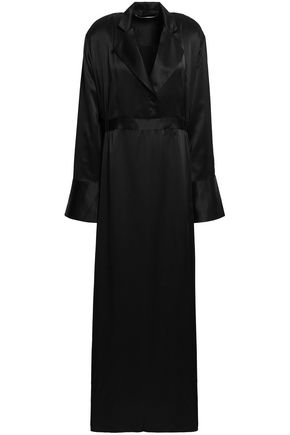 MICHAEL LO SORDO Silk-satin maxi shirt dress