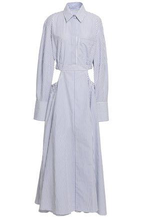 MICHAEL LO SORDO Cutout striped cotton-poplin maxi shirt dress