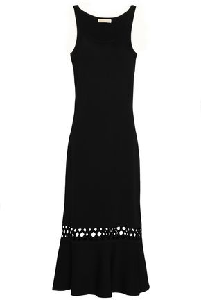 MICHAEL MICHAEL KORS Crochet-trimmed stretch-knit midi dress