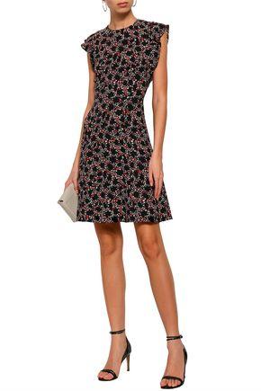 MICHAEL MICHAEL KORS Ruffle-trimmed floral-print silk-cady mini dress