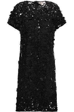 MICHAEL MICHAEL KORS Floral-appliquéd embellished guipure lace dress