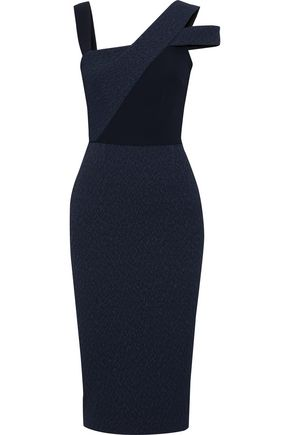 ROLAND MOURET Elsom cady-paneled cutout cloqué dress