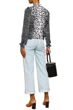 MICHAEL MICHAEL KORS Lace-up printed silk blouse