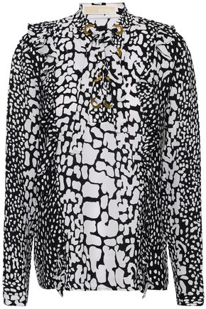 MICHAEL MICHAEL KORS Lace-up printed silk blouse