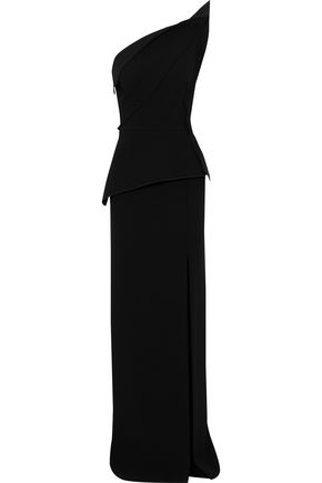 ROLAND MOURET Acosta one-shoulder pleated wool-crepe gown