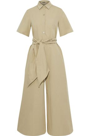 MAX MARA Remo belted cotton-faille jumpsuit