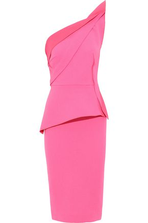ROLAND MOURET One-shoulder wool-crepe peplum midi dress