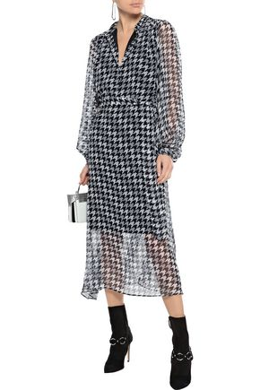 EQUIPMENT Francois belted houndstooth silk-georgette midi dress