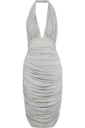 NORMA KAMALI Ruched mélange stretch-jersey halterneck dress