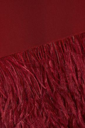 NORMA KAMALI Faux feather-paneled draped stretch-jersey dress