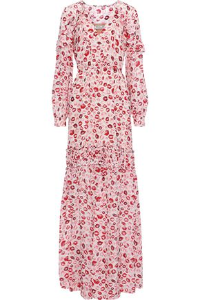 RACHEL ZOE Yvonne ruffle-trimmed printed silk-chiffon maxi dress