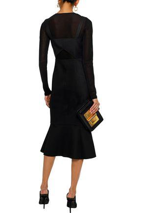 RACHEL ZOE Camille button-embellished cutout twill midi dress