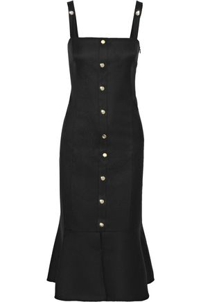 RACHEL ZOE Camille button-embellished cutout twill midi dress