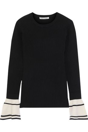AUTUMN CASHMERE Fluted ribbed two-tone wool-blend sweater