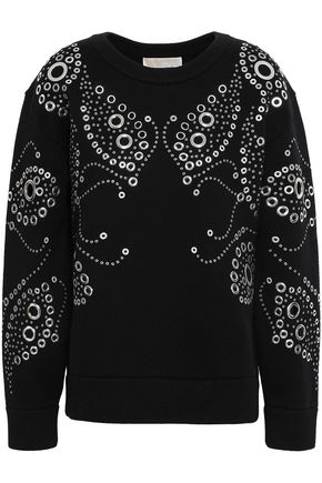 MICHAEL MICHAEL KORS Eyelet-embellished French cotton-blend terry sweatshirt